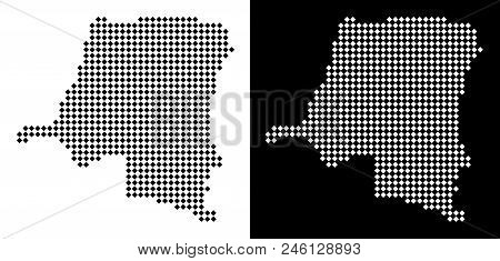 Vector Rhombus Dotted Democratic Republic Of The Congo Map. Abstract Territorial Maps In Black And W