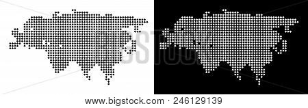 Vector rhombus pixel Eurasia map. Abstract geographical maps in black and white colors on white and black backgrounds. Eurasia map designed of rhombus point array. poster
