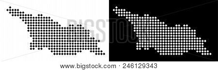 Vector Rhombic Pixel Georgia Map. Abstract Territorial Maps In Black And White Colors On White And B