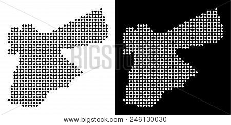 Vector Rhombus Dotted Jordan Map. Abstract Territorial Maps In Black And White Colors On White And B