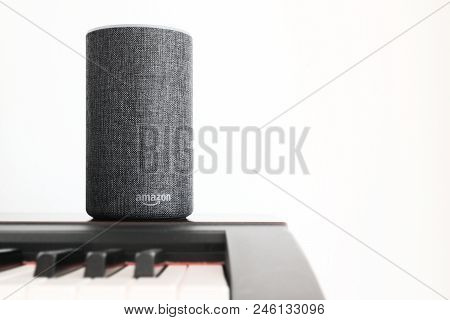 Barcelona - June 2018: Amazon Echo Smart Home Alexa Voice Service On A Piano In A Living Room On Jun