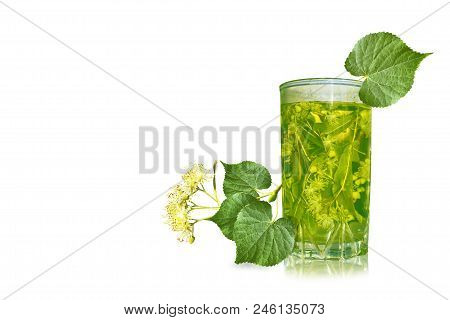 Glass With Floral Lime Tea Isolated On White Background.