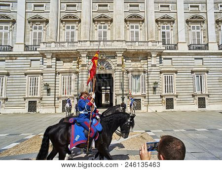 East Facade Of Royal Palace Of Madrid, Spain.