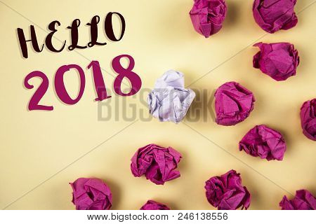 Conceptual Hand Writing Showing Hello 2018. Business Photo Showcasing Starting A New Year Motivation