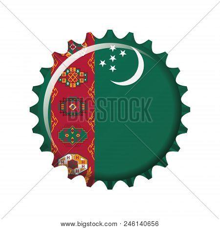 National Flag Of Turkmenistan On A Bottle Cap. Vector Illustration
