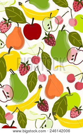 Colorful Fruit Background Illustration Or Placement Print.