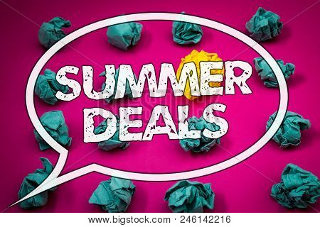 Writing Note Showing  Summer Deals. Business Photo Showcasing Special Sales Offers For Vacation Holi