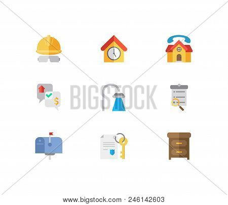 Property Icons Set. Leased And Property Icons With Negotiation, Construction Service And Property Pa
