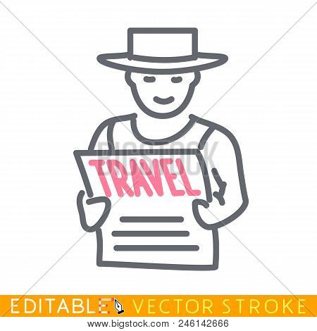 Traveler Reading A Travel Booklet. Editable Stroke Sketch Icon. Stock Vector Illustration.