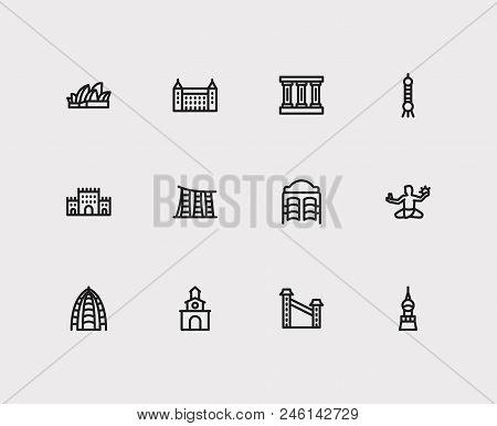 Travel Icons Set: Switzerland, Colombia, Abu Dhabi And Shanghai, Germany, Cityscape Set Popular Trav