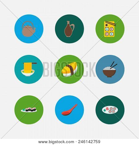 Nutrition Icons Set. Unagi Nigin And Nutrition Icons With Japanese Roll, Teapot And Japan Food. Set