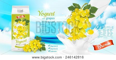 White Yogurt With Fresh Grapes In Box. Advertisment Design Template. Vector