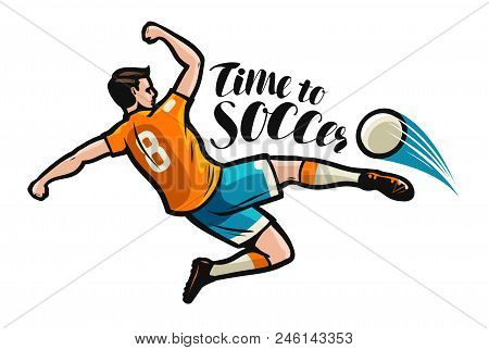 Soccer Player Kicking Ball In The Jump. Sports Concept. Vector Illustration