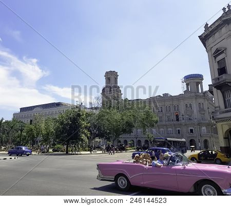 Havana, Cuba - June 3: Street Of Havana With Vintage Car And National Museum Of Fine Arts (museo Nac