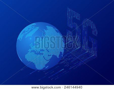 Isometric 5g Network Wireless Systems And Internet Vector Illustration. Communication Network, Busin