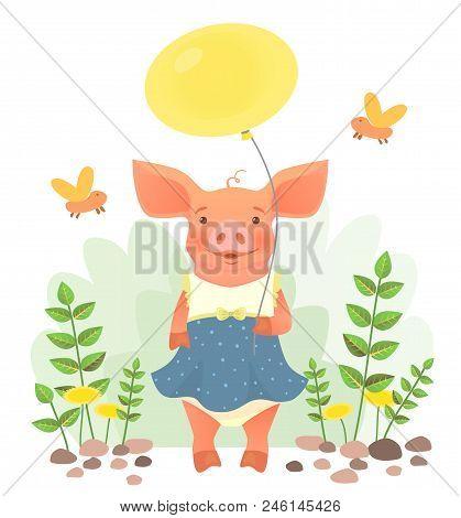 Cute Pig Holding Balloon. Cute Animal Vector Illustration