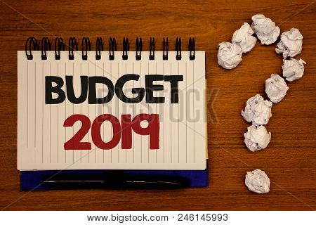 Text Sign Showing Budget 2019. Conceptual Photo New Year Estimate Of Incomes And Expenses Financial
