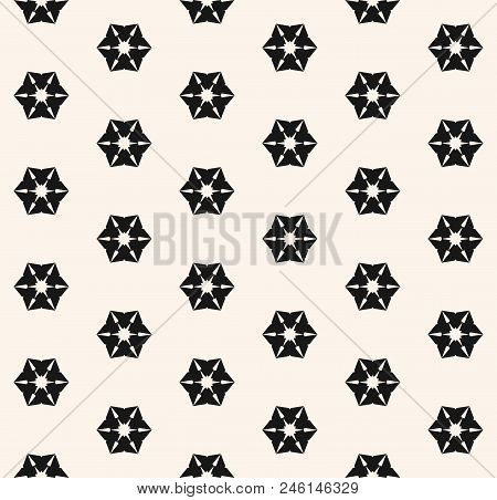 Vector Geometric Floral Seamless Pattern. Abstract Minimal Background In Black And White Colors. Gra
