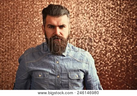 Fashion, Style Concept. Beauty Fashion Portrait. Bachelor With Bearded Face, Mustache Pose In Blue S