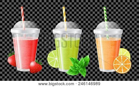 Fruit Smoothie  Strawberry, Lime And Mint, Orange And Lemon. Smoothies In Transparent Cups With  Dom
