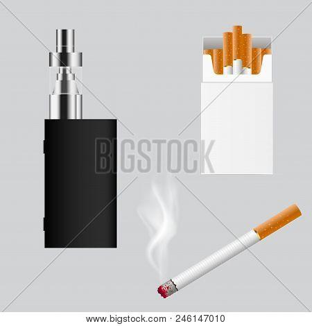 Set Of Cigarette Types. E Cigarette . Vector