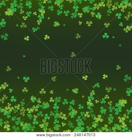 5097871 Saint Patrick's Day Frame With Green Tree Leaf Clovers On Black Background. Vector