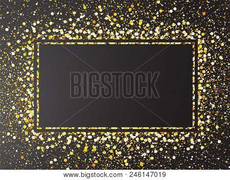 Gold Glitter Confetti On Black Background. Gold Explosion Of Glitter, Abstract Background. Template