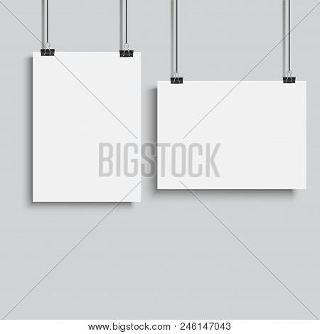 White Poster Hanging On Binder. Vector Illustration.