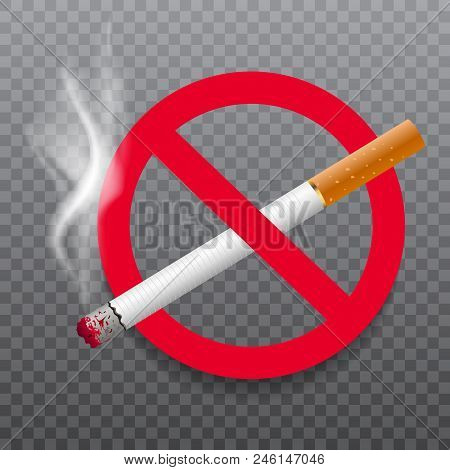 No Smoking Realistic Sign On Transparent Background. Vector