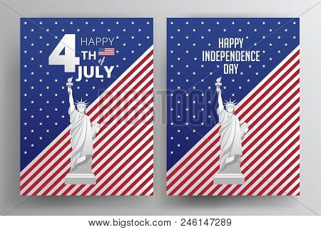 Happy Independence Day Usa Vector Posters With The United States Flag. 4th Of July Usa Independence