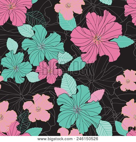 Seamless Vector Repeat Colorful Hibiscus Flowers And Leaf Pattern On A Black Background. Surface Pat