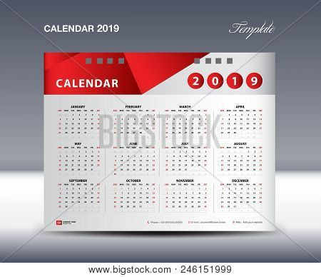 Calendar 2019 Template Vector, Week Starts Sunday, Stationery Design, Flyer Design Vector, Printing