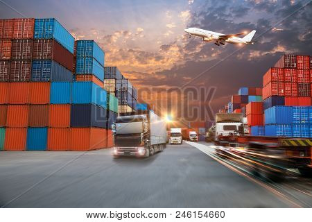 Truck Transport Container On The Road To The Port With Logistic Transportation Of Container Cargo Sh