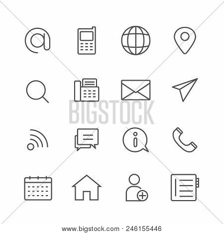 Simple Set Of Contact Us Vector Thin Line Icons, Editable Stroke Linear Symbols