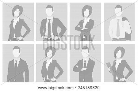 Default Placeholder Man And Woman Half-length Portrait Photo Avatar. Businessman And Businesswoman G