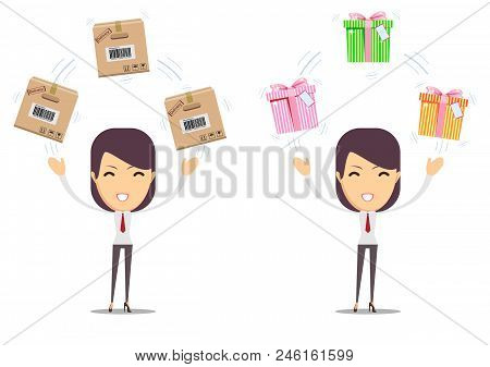 Beautiful Young Woman With Different Boxes. Stock Vector Illustration For Poster, Greeting Card, Web