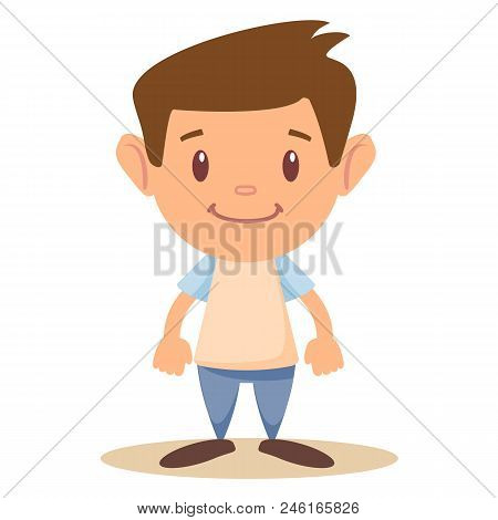 Vector Cartoon Funny Little Boy Isolated On White Background. The Self-confident Boy Is Standing Wit