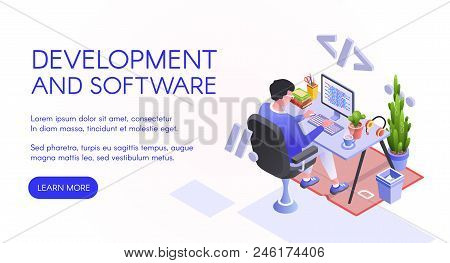 Software Development Vector Illustration Of Web Developer Or Programmer At Computer. Man Sitting At