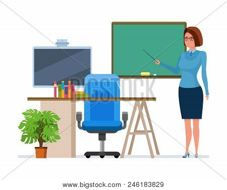 Teacher Character Person With School Pointer In Hand, Next To Chalkboard Lesson In Class, Explains M