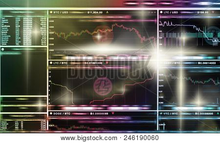 Cryptocurrency Trading Screen, Bitcoin Exchange Screen Of Trading Information, Block Chain Technolog
