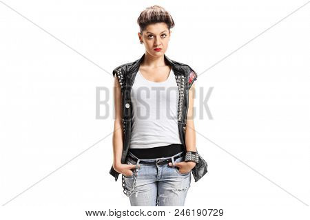 Punk girl isolated on white background