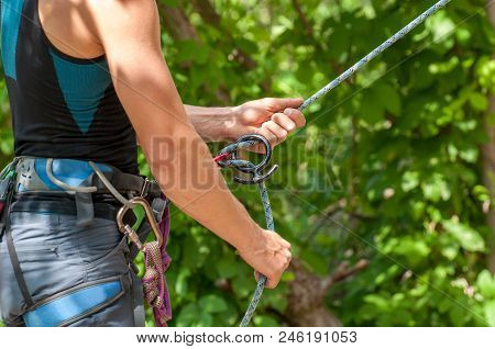 Rock Climbing. Insurance Climber. Professional Equipment For Mountaineering. Rope. Strong, Reliable,