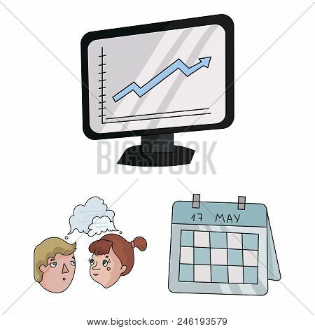 Business Conference And Negotiations Cartoon Icons In Set Collection For Design.business And Trainin