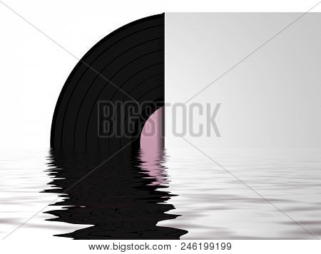 illustration of a vinyl record with water