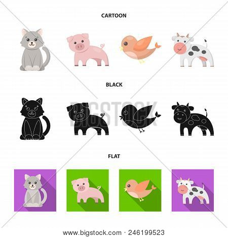 An Unrealistic Cartoon, Black, Flat Animal Icons In Set Collection For Design. Toy Animals Vector Sy