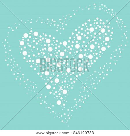 Scalable Vectorial Representing A White Heart Shaped Balls On A Blue Background, Element For Design,