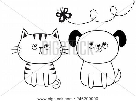 poster of Dog cat head face silhouette looking at butterfly. Contour line. Cute cartoon sitting puppy kitten character. Kawaii animal. Funny baby pooch kitty. Love card. Flat design. White background Vector