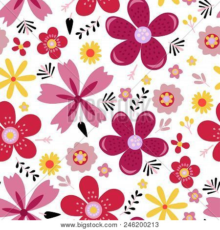Amazing Floral Vector Seamless Pattern Of Bright Colorful Flowers In Cute Vintage Style.beautiful Co