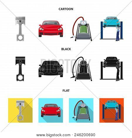 Car On Lift, Piston And Pump Cartoon, Black, Flat Icons In Set Collection For Design.car Maintenance