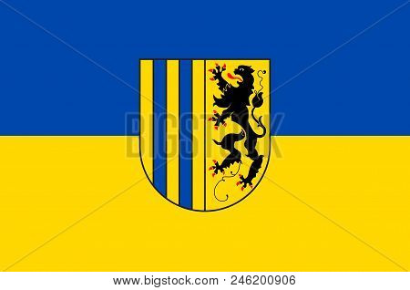 Flag Of Chemnitz Is The Third-largest City In The Free State Of Saxony, Germany. Vector Illustration